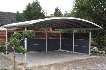 Fritstående dobbelt aluminiums-carport med sidebeklædning