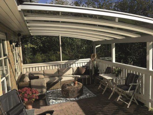 Smuk Overdækning Af Terrasse Vægmodel Med Hegn