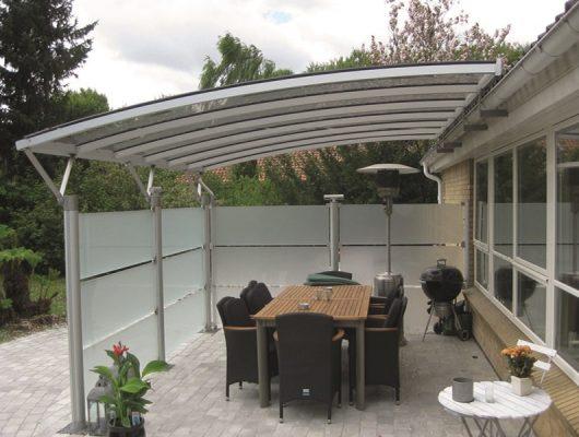 Vægmodel Terrasseoverdækning I Aluminium Med Glassider